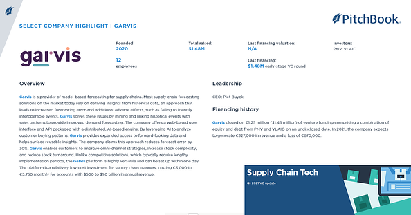 Garvis feature in Pitchbook VC update
